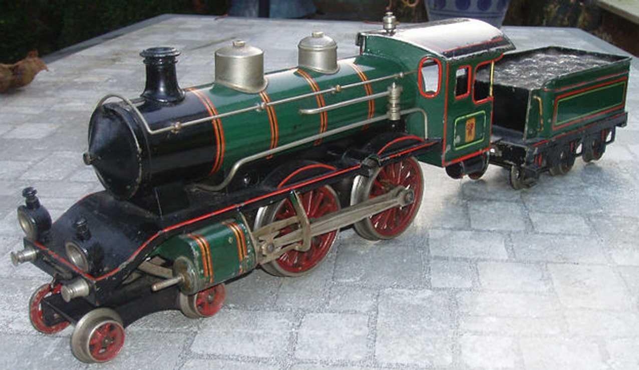bing 171/3595 eisenbahn uhrwerk-dampflokomotive gruen schwarz spur 1