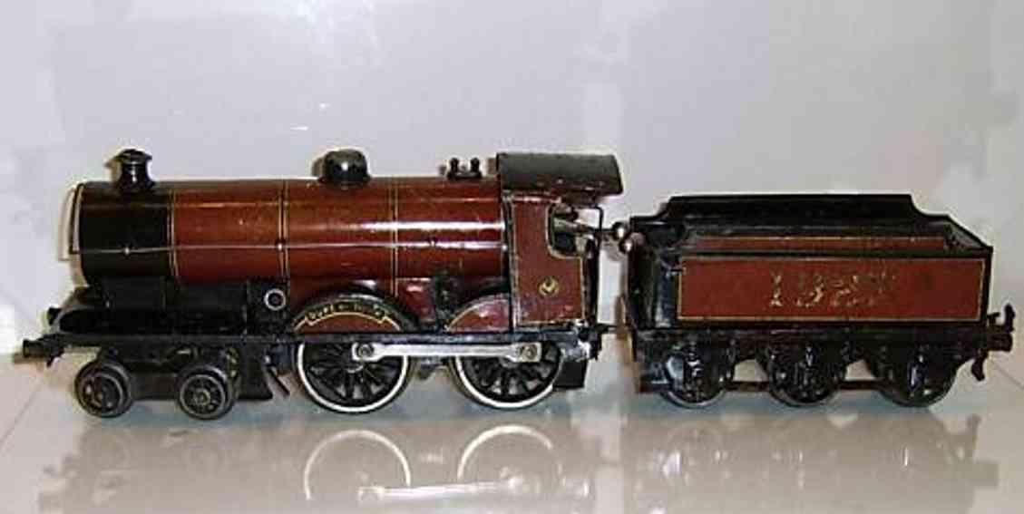 bing 17595/0 eisenbahn uhrwerkdampflokomotive rotbraun spur 0