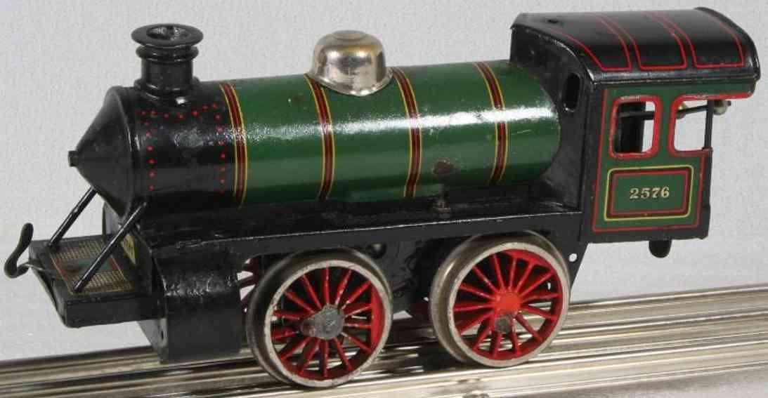 bing spielzeug eisenbahn lokomotive uhrwerkdampflokomotive grün und schwarz lithografiert, aufsc
