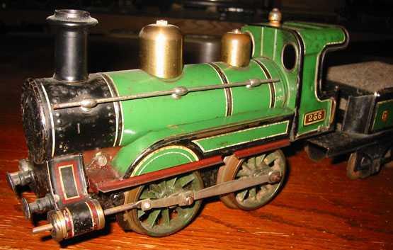 bing spielzeug eisenbahn lokomotive uhrwerk-dampflokomotive; 2-achsig; grün und schwarz handlack