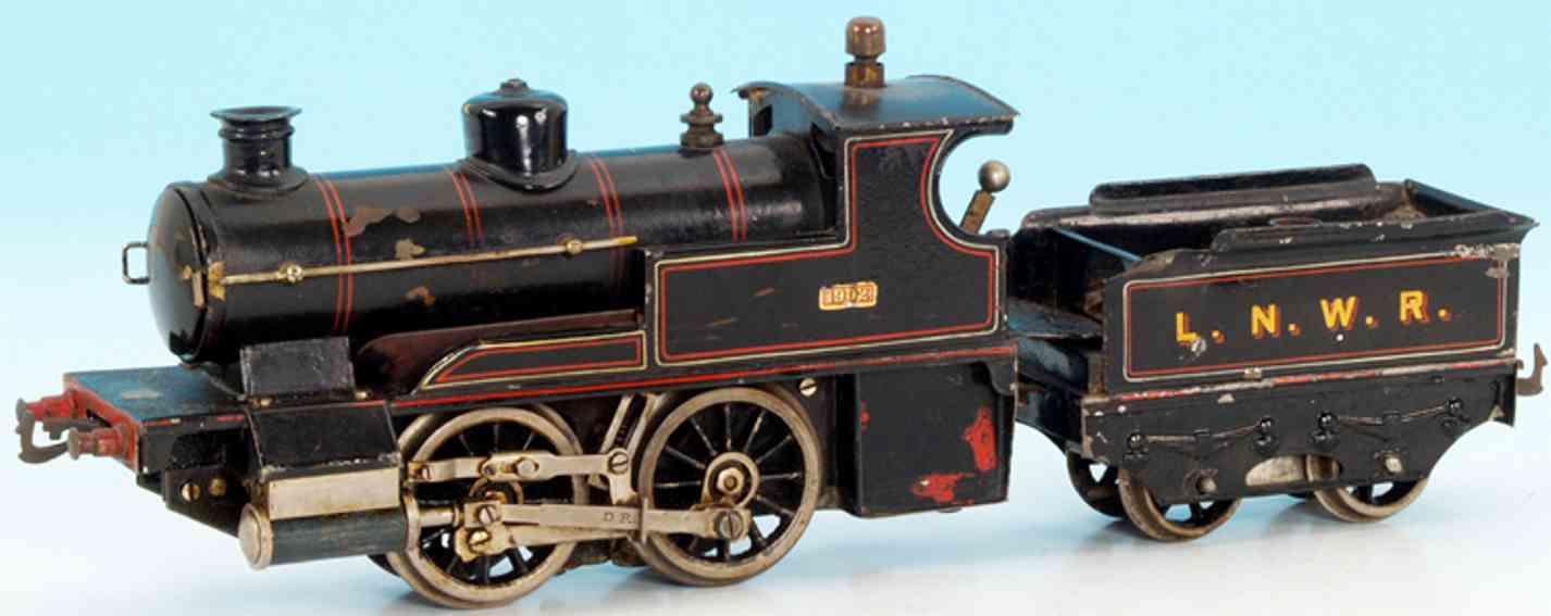 bing 28593/0 lnwr eisenbahn englische spiritusdampflokomotive schwarz spur 0