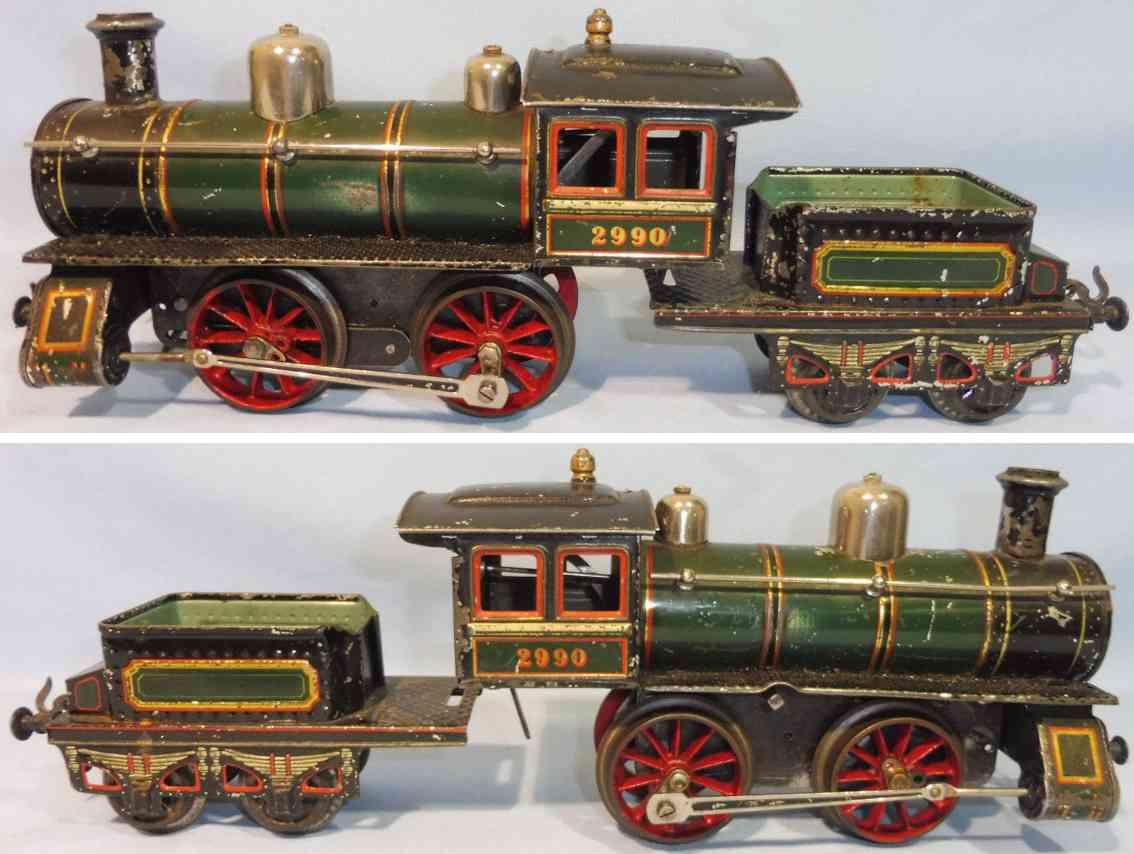 bing 2990 spielzeug uhrwerk-lokomotive tender schwarz spur 1