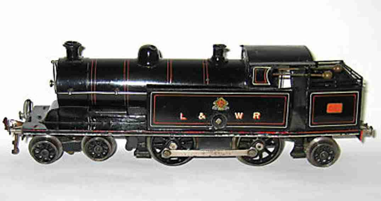 bing 3101 l&nwr spielzeug eisenbahn englische tender-uhrwerklokomotive schwarz spur 0