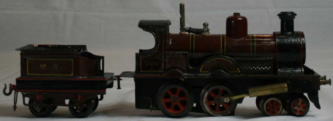 bing 33592/0 railway toy engine english spirit steam locomotive maroon black gauge 0