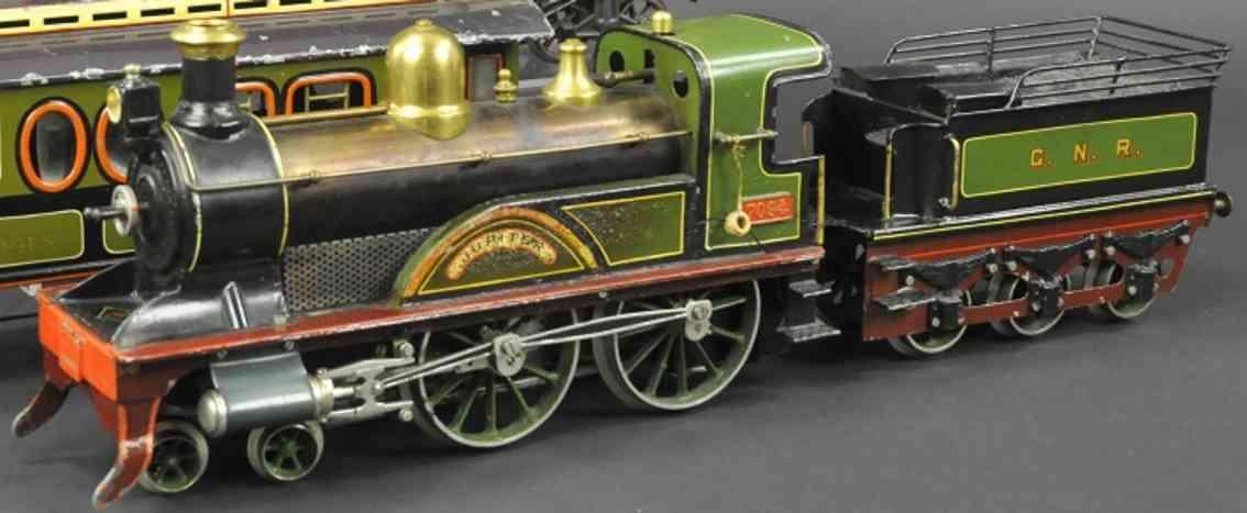 bing 33594/3 spielzeug eisenbahn spiritus-dampflokomotive gruen schwarz spur 3