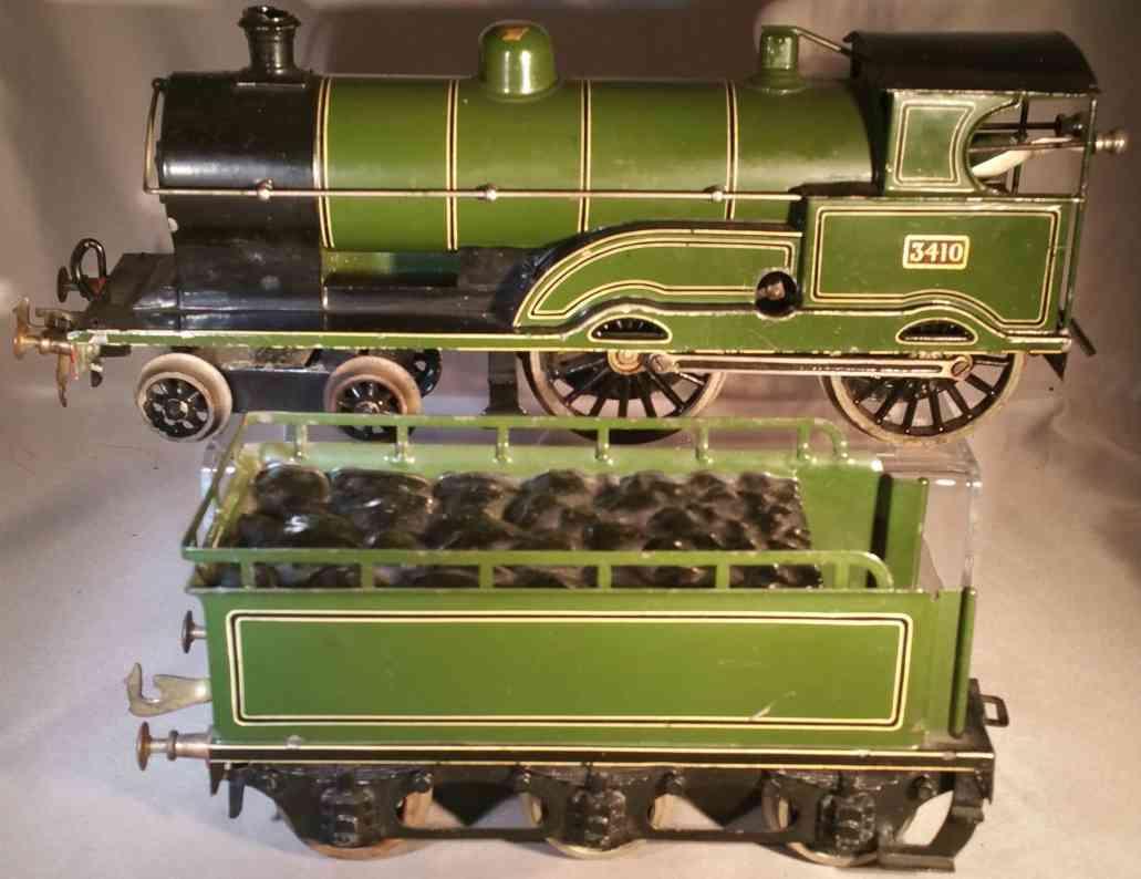 bing 3410 eisenbahn uhrwerklokomotive tender  gruen schwarz spur 1