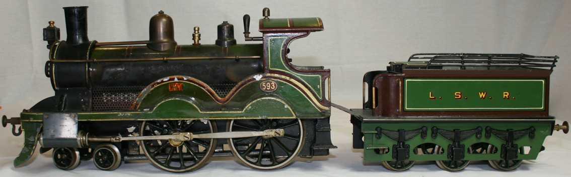 bing 33595/3 railway toy engine spirit steam locomotive green black gauge 3