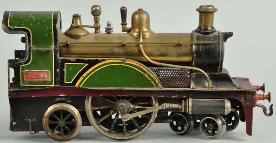 bing 36594/1 eisenbahn englische spiritus-dampflokomotive gruen schwarz spur 1