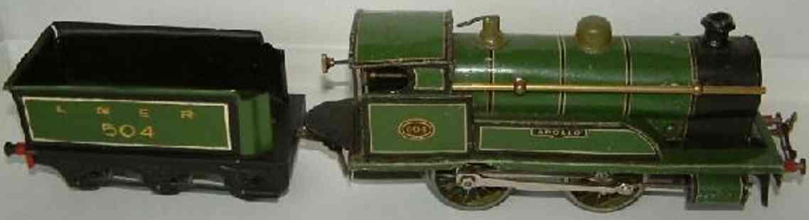 bing 4709 lner 504 railway toy engine clockwork dragging tender locomotive brown gauge 0