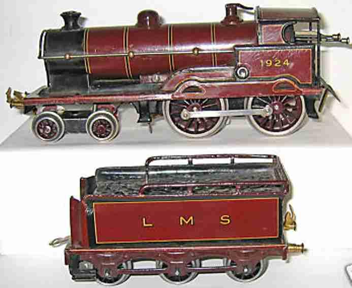 bing 4710 lms spielzeug eisenbahn englische uhrwerklokomotive rot