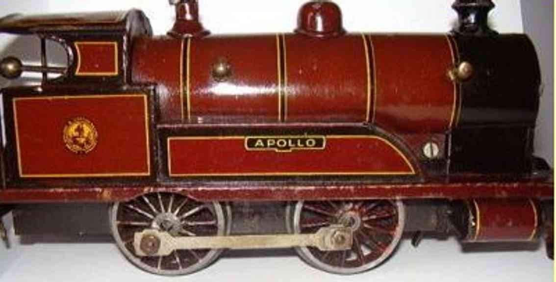 bing 4711 apollo 513  railway toy engine english clockwork locomotive maroon gauge 0