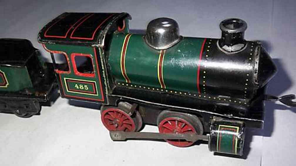 bing spielzeug eisenbahn uhrwerk-dampflokomotive 485 gruen schwarz spur 0