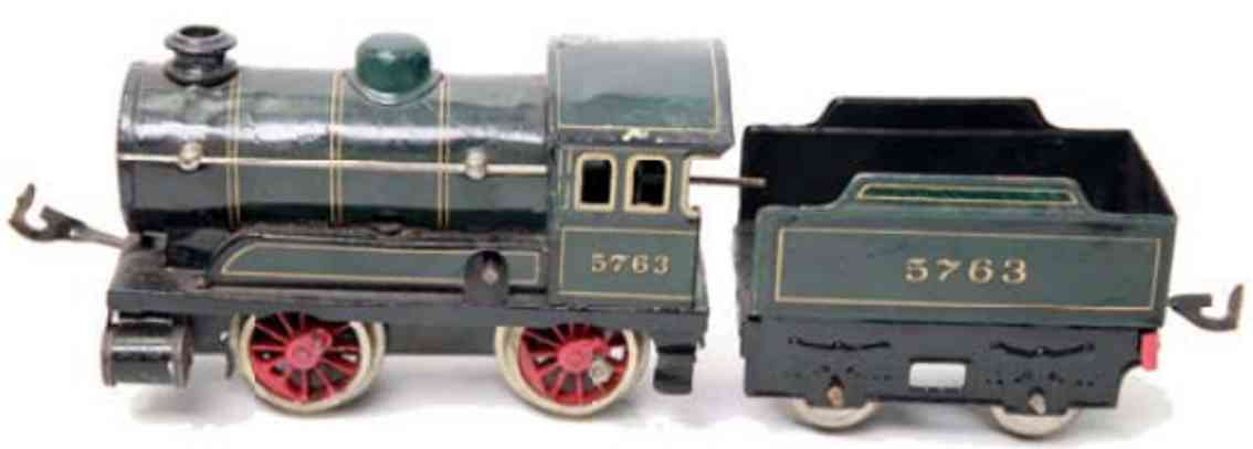 bing 5763 railway toy clockwork steam locomotive tender green black gauge 0