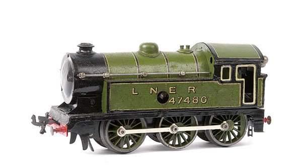 bing 61/4736 railway toy engine english clockwork locomotive green black gauge 0