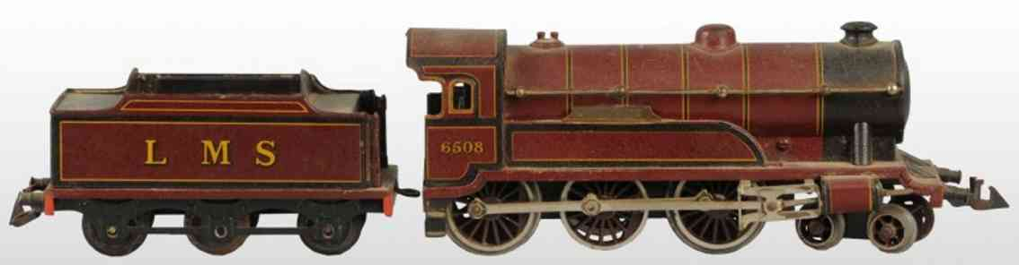 bing 61/4737 lms railway toy engine english clockwork locomotive brown gauge 0