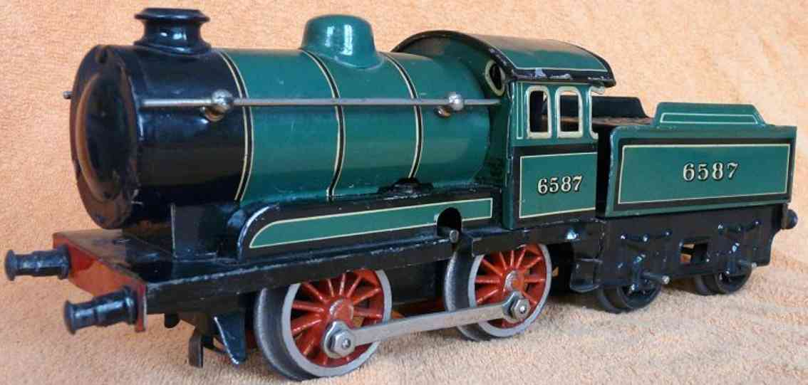 bing 6587 railway toy engine clockwork steam locomotive tender green black gauge 0