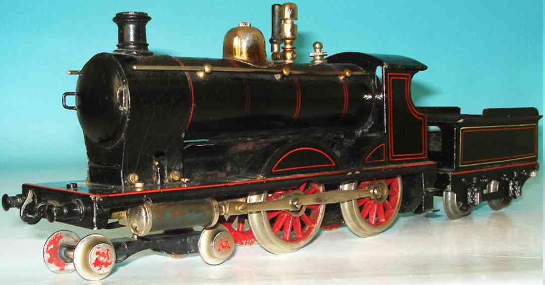 bing 66593/0 eisenbahn englische spiritus-dampflokomotive schwarz spur 0