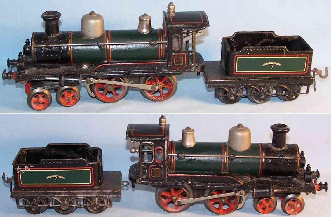 bing 7138 spielzeug eisenbahn uhrwerk-dampflokomotive gruen schwarz spur 0