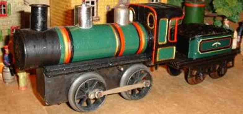bing 9525 railway toy engine clockwork steam locomotive tender green black gauge 1