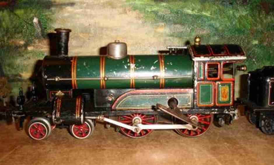 bing 981/1 railway toy engine clockwork dragging tender steam locomotive green black gauge 1