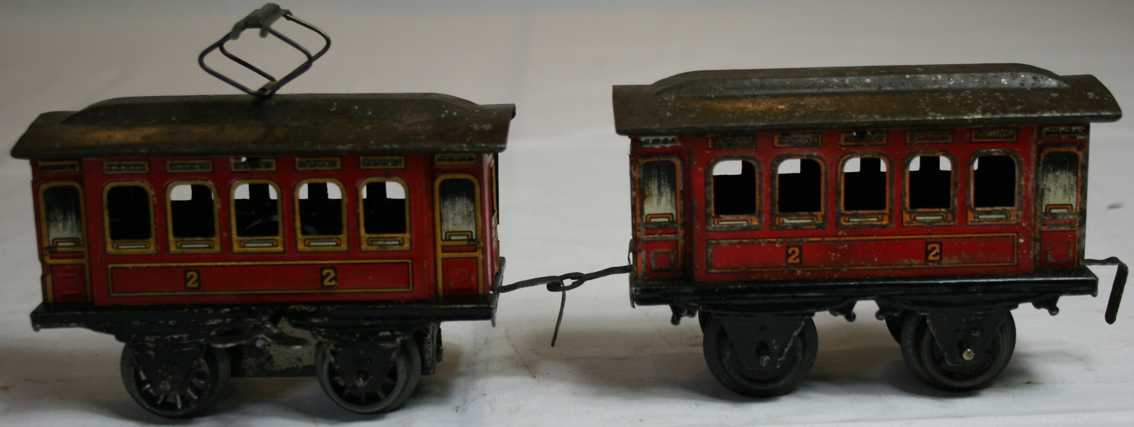 bing railway toy engine clockwork motor car and trailer red gauge 0