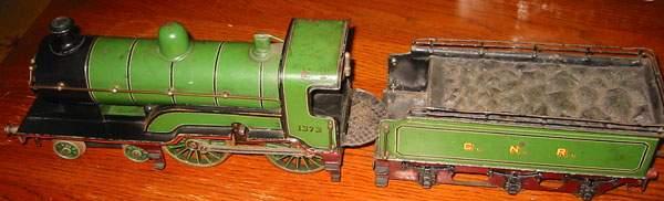bing spielzeug eisenbahn lokomotive uhrwerk-lokomotive; 4-achsig; grün und schwarz handlackiert,