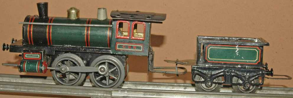 bing spielzeug eisenbahn lokomotive mit tender gruen schwarz spur 0