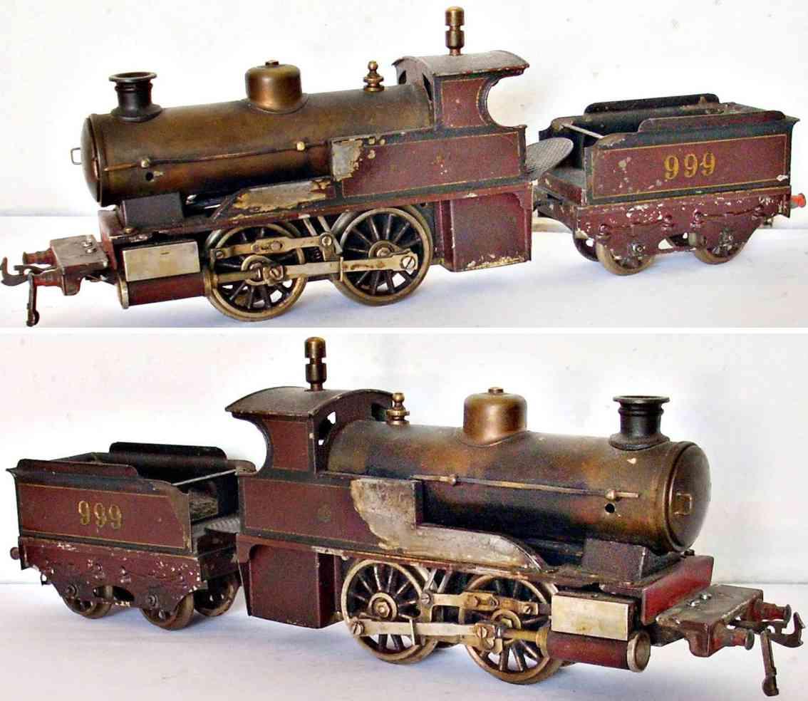bing 999 railway toy engine spirit steam locomotive with tender gauge 0
