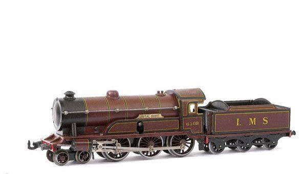 bing eisenbahn englische uhrwerk-dampflokomotive rotbraun schwarz spur 0