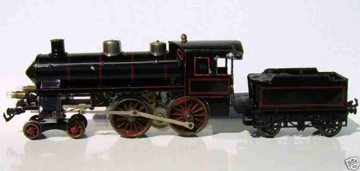 bing spielzeug eisenbahn lokomotive elektrodampflokomotive 2b, schwarz mit roten zierlinien, tri