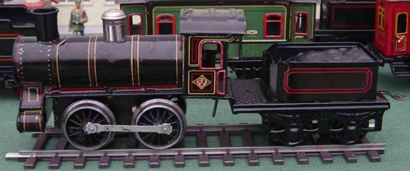 bing spielzeug eisenbahn uhrwerk-dampflokomotive mit tender spur 1