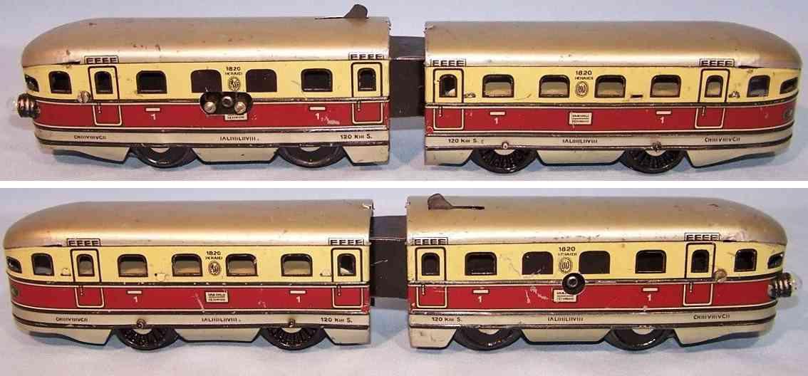 bub 8910/18 blech eisenbahn lokomotive 18 volt elektrischer triebwagen spur 0