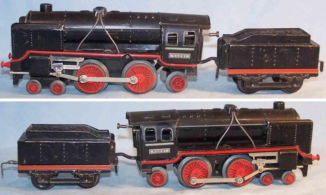 bub 40281 spielzeug eisenbahn uhrwerk-dampflokomotive tender spur 0