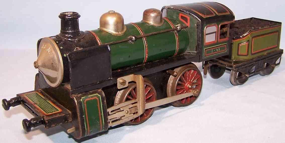 bub 1250 lt spielzeug eisenbahn uhrwerklokomotive tender gruen schwarz spur 1