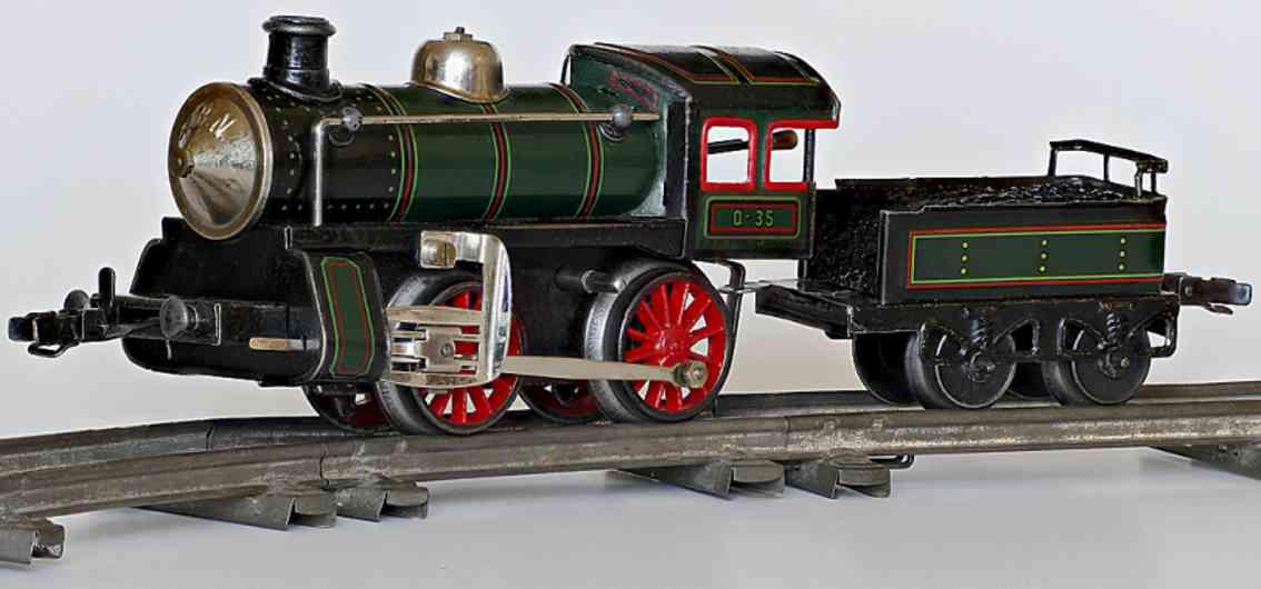 bub railway toy engine locomotive with tender and spring mechanism gauge 0