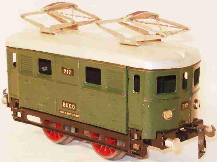 buco bucherer 212 spielzeug eisenbahn lokomotive uhrwerk-elektrolokomotive; 2-achsig; grün chromlithografiert