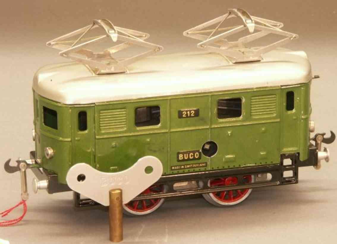 buco bucherer 212.1 spielzeug eisenbahn lokomotive uhrwerk-elektrolokomotive b, in hellgrün, metallic und beige