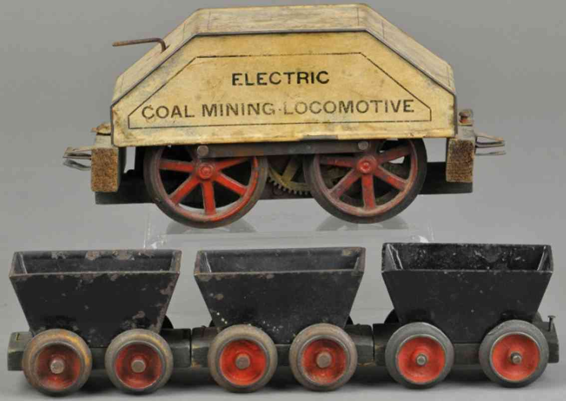 carlisle & finch Coal mining loc railway toy engine mining train,paper covered version on tin body with wood flo