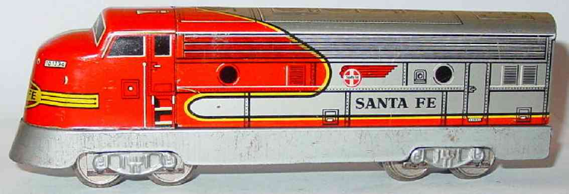 distler johann  503l toy engine diesel locomotive f7 santa fe td 1234 red silver gauge h0