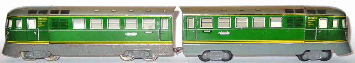 distler johann 501 railway toy engine railcar td 5000 two-parts green gauge h0