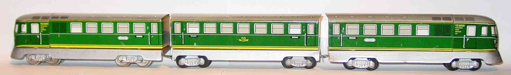 distler johann 502 railway toy engine railcar td 5000 three-parts green gauge h0