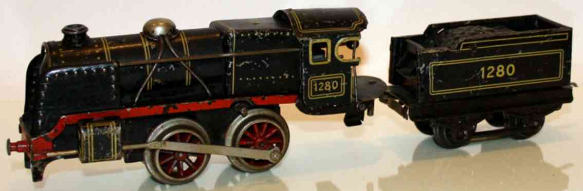 distler spielzeug eisenbahn lokomotive uhrwerklokomotive in schwarz, vor- und rückwärtsfahrend, ums
