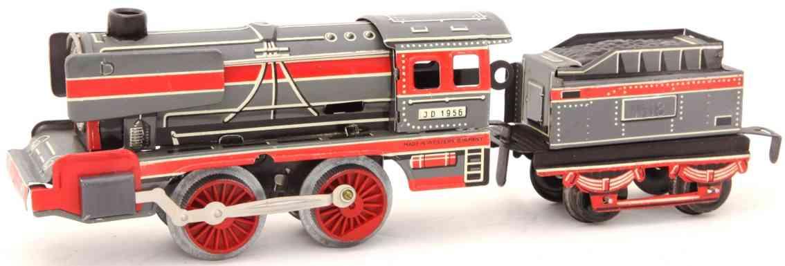 distler johann 14lk railway toy engine steam locomotive gray red witte gauge 0
