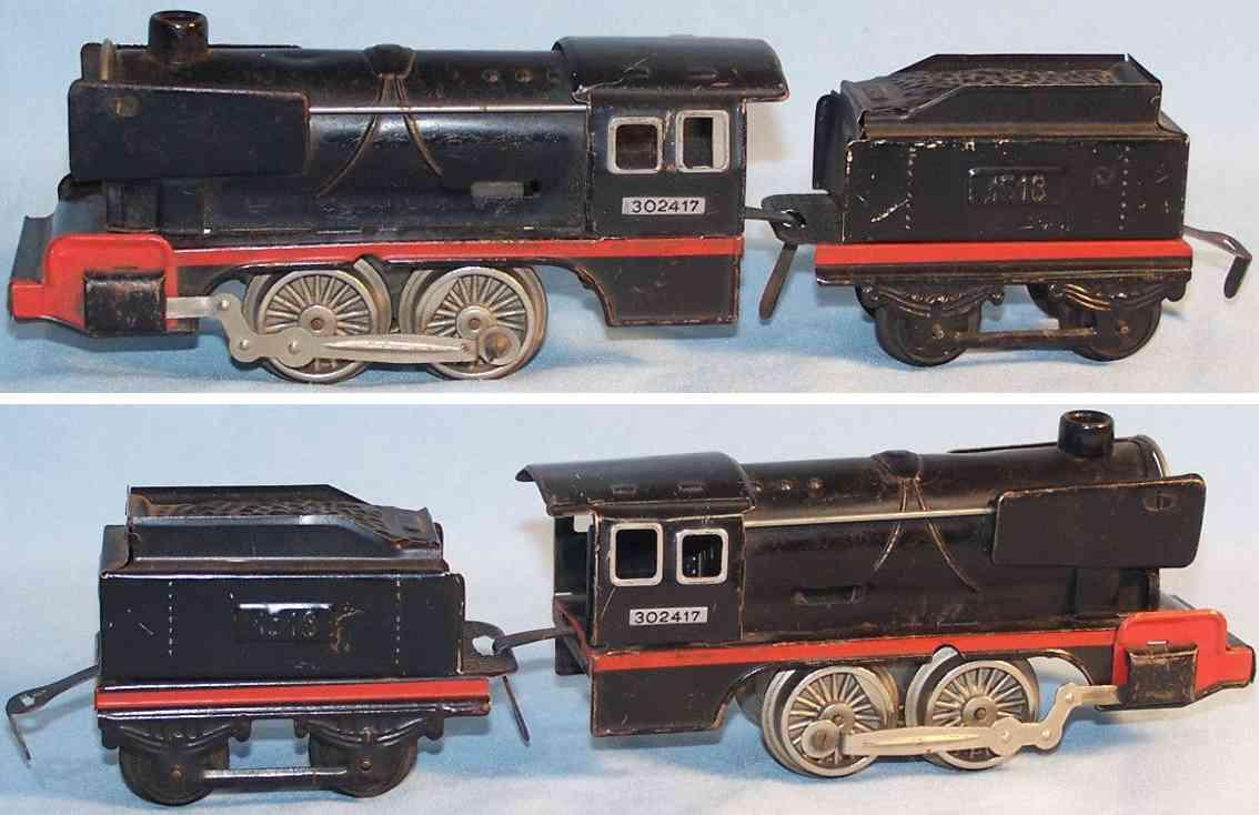 distler johann spielzeug eisenbahn dampflokomotive 1400lk  tender 14k blech guss spur 0