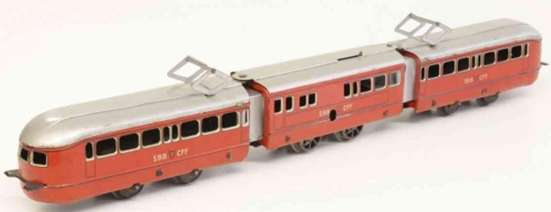 distler spielzeug eisenbahn lokomotive 3-teiliger uhrwerk-triebwagen der sbb+cff b'b'b', lithografi
