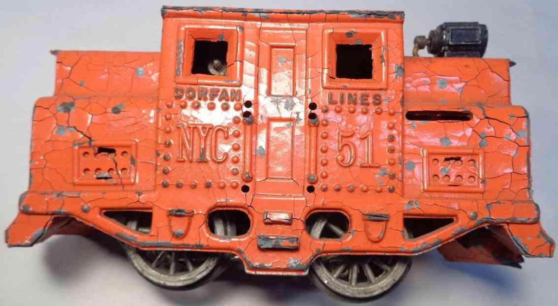 dorfan 51 spielzeug eisenbahn elektrolokomotive druckguss orange spur 0