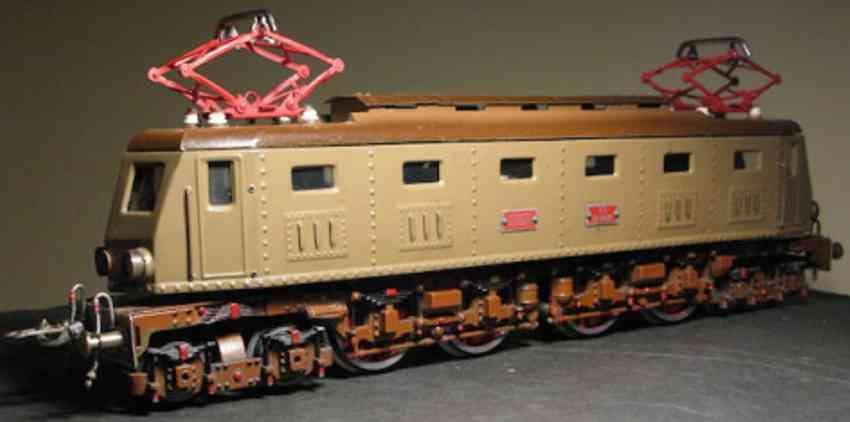 elettren railway toy engine electric locomotive two tone brown castano isabella