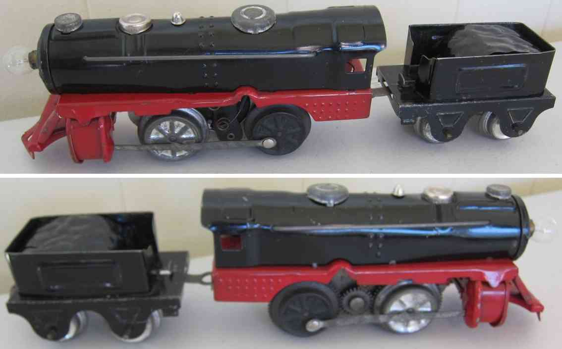 girard railway toy engine clockwork locomotive with tender