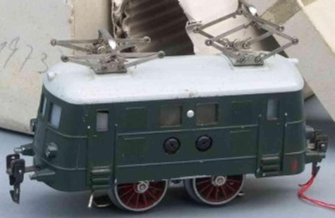 hag 1946 spielzeug eisenbahn lokomotive elektrolokomotive b in grün, grau und rot, mit fernsteuerung