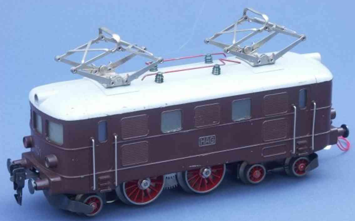 hag 520 spielzeug eisenbahn elektrolokomotive braun grau spur 0